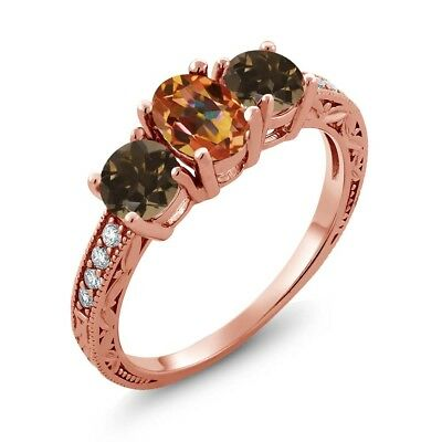 1.84 Ct Ecstasy Mystic Topaz Brown Smoky Quartz 18K Rose Gold Plated Silver Ring