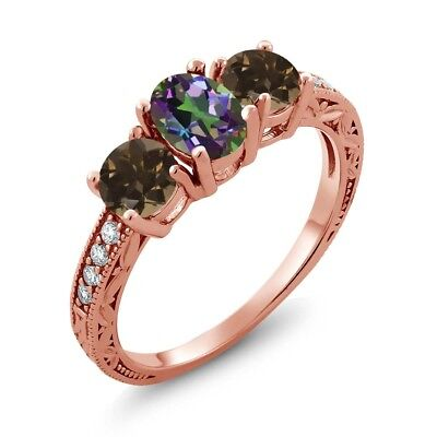 1.84 Ct Green Mystic Topaz Brown Smoky Quartz 18K Rose Gold Plated Silver Ring