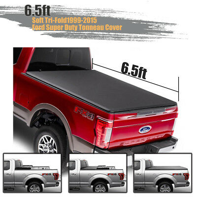Lock Soft Tri-Fold Tonneau Cover Apply For 99-15 Ford Super Duty Truck 6.5' Bed