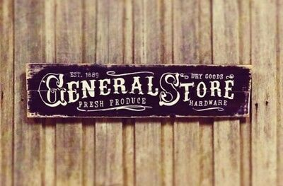General Store Decorative sign H20cm x L80cm - Rustic Vintage Style Timber Sign