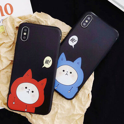 Cartoon Cat Lover Phone Case Non-slip Shockproof Cover For iPhone X 8 7 6S Plus