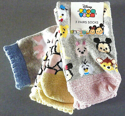 3 PAAR DiSNEY TSUM TSUM DAMEN SOCKEN MARiE MiCKEY MOUSE MiNNiE MOUSE WiNNiE POOH