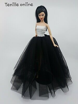 New Barbie doll clothes outfit princess wedding gown dress black and shoes x1