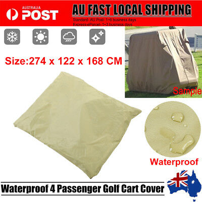 """108"""" Taupe 4 Passenger Golf Cart Waterproof Protect Cover For EZ Club Car Yamaha"""