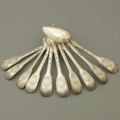 18C Antique French Sterling Silver Cutlery Flatware Set Spoon Fork Shell 10Pc Bc