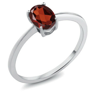 0.90 Ct Oval Red Garnet 10K White Gold Ring