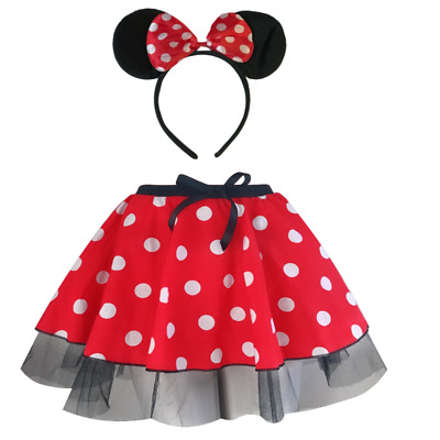 "Women's MINNIE MOUSE Style Costume Fancy Dress - 12"" length SKIRT AND EAR SET"