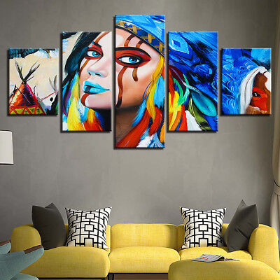 Native American Indian Woman Headdress Abstract 5 Panel Canvas Print Wall Art