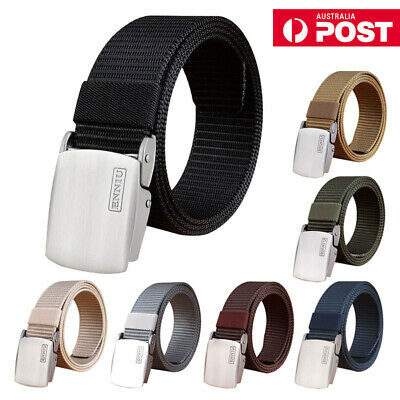 Men's Nylon Braided Waist Belt Adjustable Webbing Strap w/ Aluminium Buckle AU