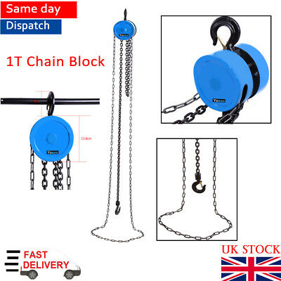 Heavy Load 1Ton Alloy Steel Chain Block Tackle Engine Lifting Hoist Pulley Winch
