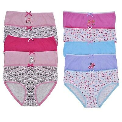Girls 100% Cotton 5 Pack Briefs Knickers Pants In Polybag