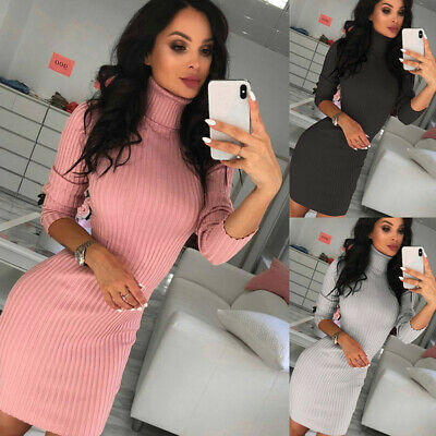 Women Ribbed High Neck Long Sleeve Bodycon Dress Ladies Winter Jumper Mini Dress