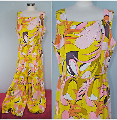 Vintage 60s Jumpsuit Psychedelic Yellow Pink Wide Palazzo Pants L XL