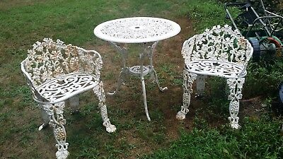 Antique Cast Iron Garden Patio Chairs & Table 3 Piece Set