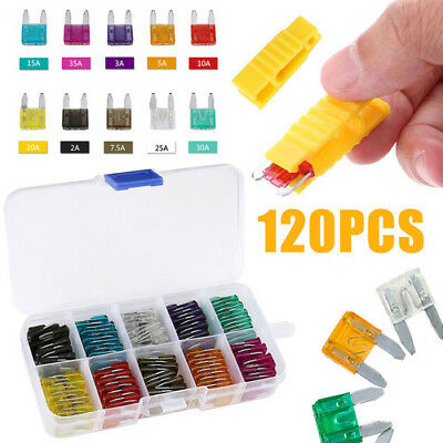 120pcs Mini Car Blade Fuses Assorted Kit 2 3 5 7.5 10 15 20 25 30 35A with Box