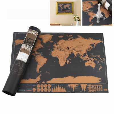 Deluxe Large Scratch World Map Personalized Travel Poster Travel Atlas Decor