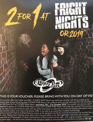 Thorpe Park Fright Nights or 2019 - 2 for 1 Discount Entry Voucher