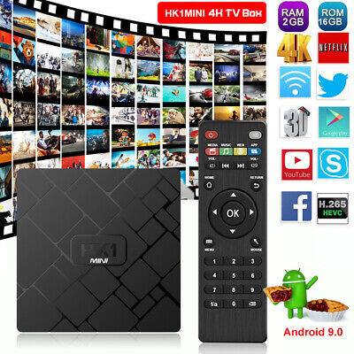 HK1MINI 2+16G Latest Android 9.0 Quad Core Smart TV BOX 4K Media Player MINI PC