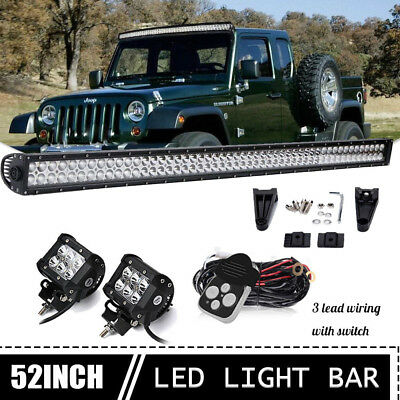 """52Inch Curved LED Light Bar Combo + 4"""" PODS Lamps OFFROAD for Ford SUV 4WD 50''"""