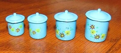 Vintage Dollhouse Miniatures NOS Set of 4 Blue Graduated Metal Canisters