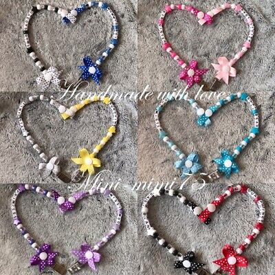 *Buy 2 get 1 Free* Personalised Dummy Clip 💝 Any Name 🤩 With Or Without Bow 🎀