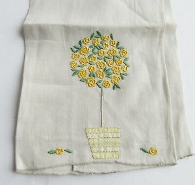 Marghab Embroidered Rose Tree Guest Towel Yellow Flowers Madeira Embroidery