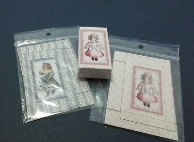 Dollhouse Miniature Fold & Glue Box Kit set 2 w/ Doll Picture by Dragonfly 1:12