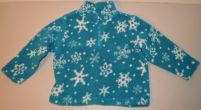 Old Navy Boys/ Girls Size 4/5  Long Sleeve Teal With Snowflakes Pullover Jacket