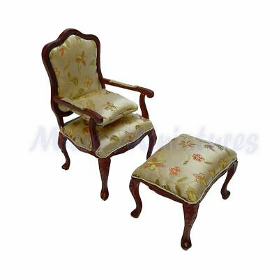 Dolls House Mahogany Armchair Set 1/12th Scale (00484)