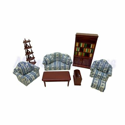 Dolls House Blue Living Room Set 1/12th Scale (00505)