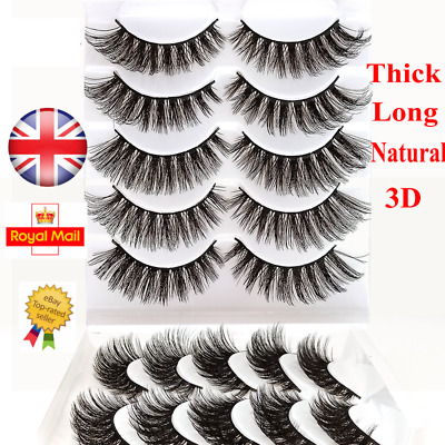 5 or 10 Pairs 3D Curl False Eyelashes Long Natural Soft Fake Eye Lashes Mink UK