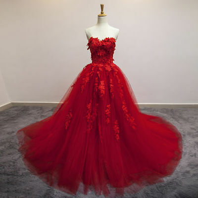 Red Lace Wedding Dress Bridal Gown Quinceanera Pageant Formal Party Prom Dress