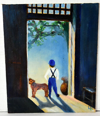 "10"" Oil Painting Canvas Lucille Bodiford Americana Boy W/ Dog Outside House Door"
