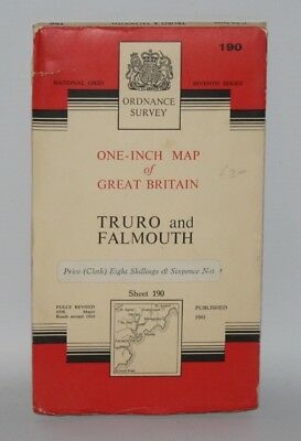 Ordnance Survey - One Inch Cloth Map - Truro and Falmouth - Sheet 190 - 1961