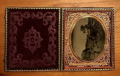 Outdoor 1860s Ambrotype Photo - Family of Four in Horse Carriage