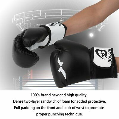Farabi PU Leather Boxing Gloves Sparring Bag Pads Kick Muay thai Punch MMA L