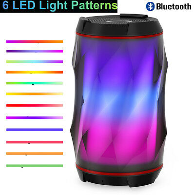 Color LED HiFI Stereo Wireless Bluetooth Speaker Mic Bass Surround AUX Portable