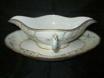 KPM (Berlin) Gravy Boat with Integral Stand, White with Flowers, Gilt c1870+