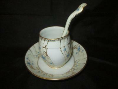 KPM (Berlin) Sauce Pot, Integral Stand & Ladle White with Flowers, Gilt c1870+