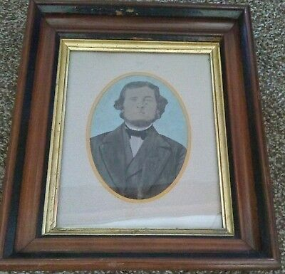 Victorian painted & gilt frame 8 x 10 ca 1860's painted photograph.