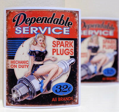 "Spark Plugs Vintage Garage Pin Up Hot Girl Retro Art 3x4"" Decal Sticker #3304"