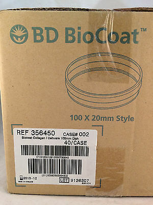 Box of 40 BD Biocoat Collagen Cellware 100mm Dishes 356450 NEW!