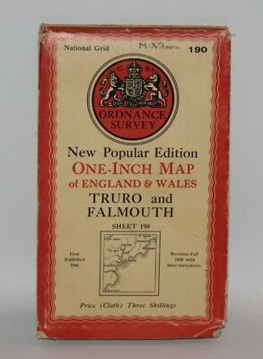 Ordnance Survey - One Inch Cloth Map - Truro and Falmouth - Sheet 190 - 1946