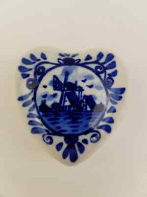 Vintage Delft Blue Trinket, Ring, Pill Box Heart Windmill, Hand painted Holland