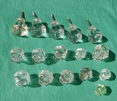 Vintage Mixed Lot 15 Clear Glass / 1 Green Furniture / Drawer / Cabinet  Pulls