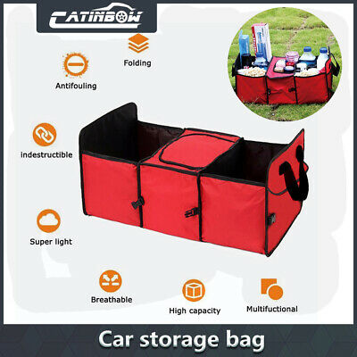 Car Trunk Cargo Organizer Folding Storage Collapsible Bag Bin Box Insulated RED