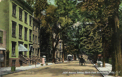 DB postcard 1909, Fifth Avenue looking North from Broadway, Troy, NY