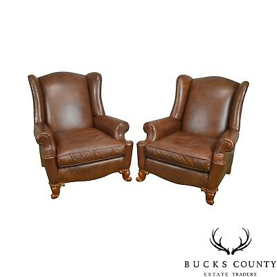 Brown Leather Rococo Style Pair of Bergere Wing Chairs by Century