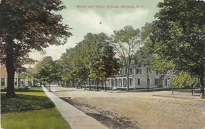 DB postcard 1909, street view of Grand and Maple Avenue, Warwick, NY