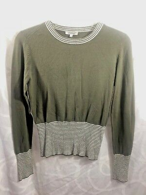Cacharel Green Size: 1 Women's White Striped Long-Sleeved Sweater Ribbed waist